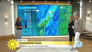 """""""Klass 1-varning för rikligt regn i södra Götaland"""" - Nyhetsmorgon (TV4)"""