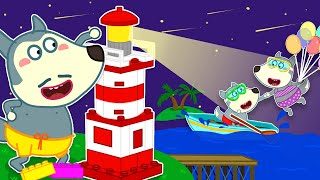Wolf Family⭐️wolfoo Built The Lego Lighthouse And Pretend Play The Beach Rescue Team With His Family
