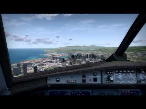 [FSX] Virgin America A320 Cockpit Landing Honolulu [HD]