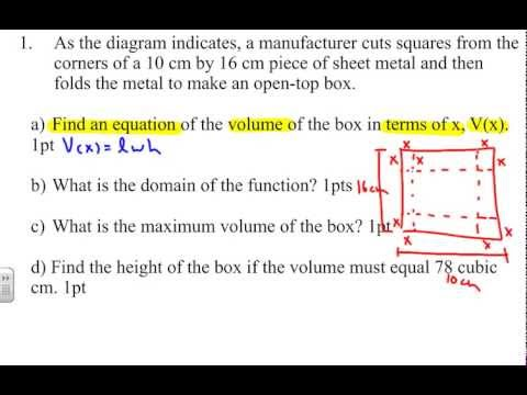 Application Of Polynomial Example 2 Finding Volume Of