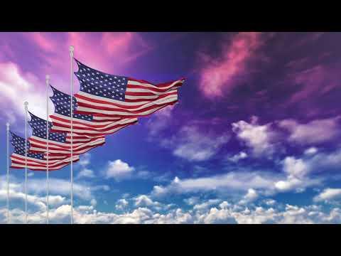 Free 4K Stock Footage -USA American Flags Waving On The Dark Red Sky 4K Video  Loop