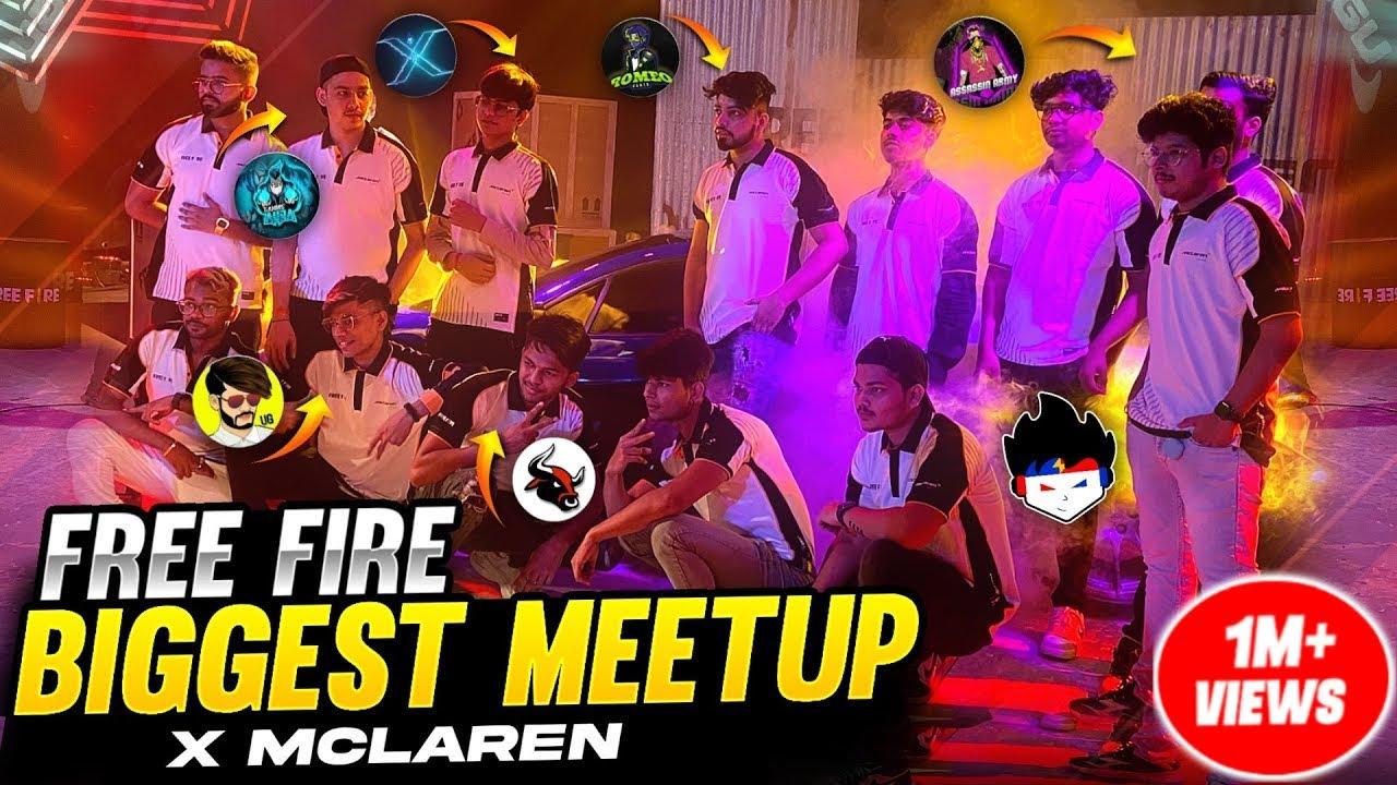Biggest Meetup & Prank With All Free Fire Youtubers 😱X Mclaren Car Shoot  -Garena Free Fire