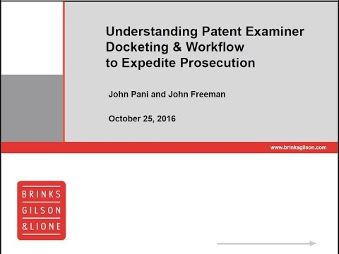 Brinks Webinar | Understanding Patent Examiner Docketing & Workflow to Expedite Prosecution