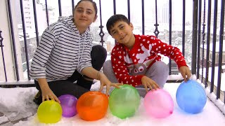 Surprice balloons pop on the Snow Guka Family Show