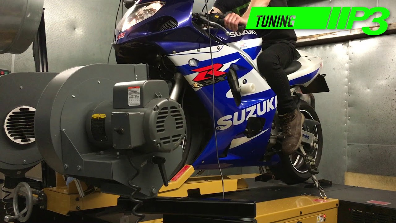 Suzuki GSX R 600 K1 dyno power run P3 Tuning - YouTube