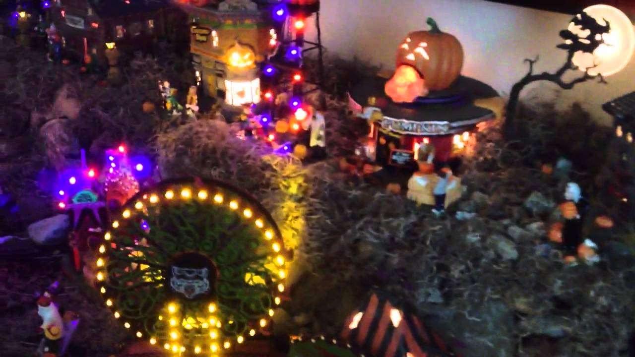 Department 56 dads completed Halloween village 2012 2013 - YouTube