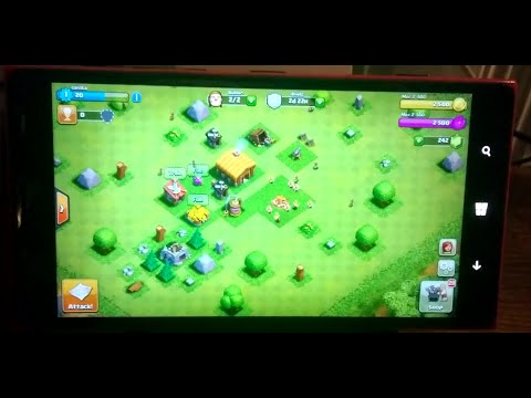 Clash Of Clans running on Windows Phone Lumia 1520 WM10