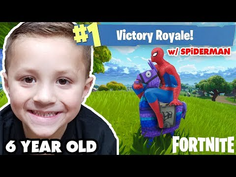 6 Year old FORTNITE VICTORY ROYALE w/ SPIDERMAN! (Battle Royale Duos)