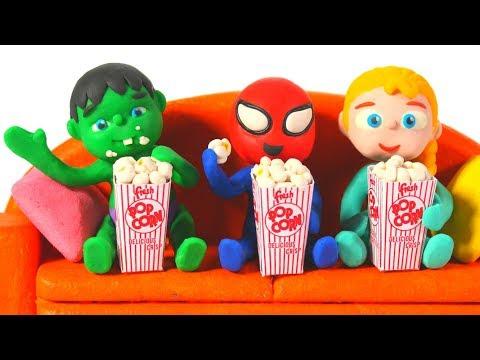 SUPERHERO BABIES ENJOY MOVIE & POPCORN ❤ SUPERHERO PLAY DOH CARTOONS FOR KIDS