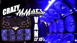 Mmats Pro Audio 12 15's on 12,000 Watts | Crazy BASS VAN Install w/ Custom Fiberglass Speaker Pods