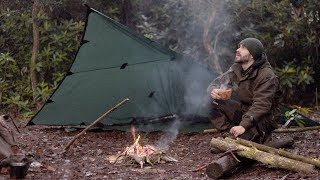 SOLO WINTER CAMP - Shelter, Long Fire, Axe, Bushcraft, Canvas Backpack