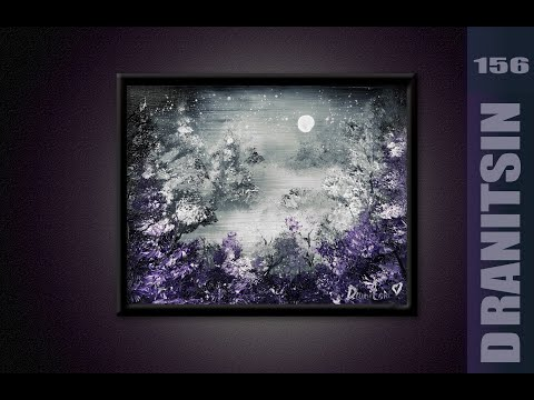 Unique Painting Approach, Violet Trees, Abstract, Black & White Background, Oval Brush, Paint Splatt