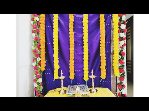 Ganpati decoration ideas for home/low cost easy backdrop stand/low bajet decoration ideas