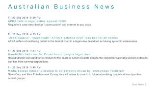 Business News Headlines for 20 Sep 2019 - 6 PM Edition