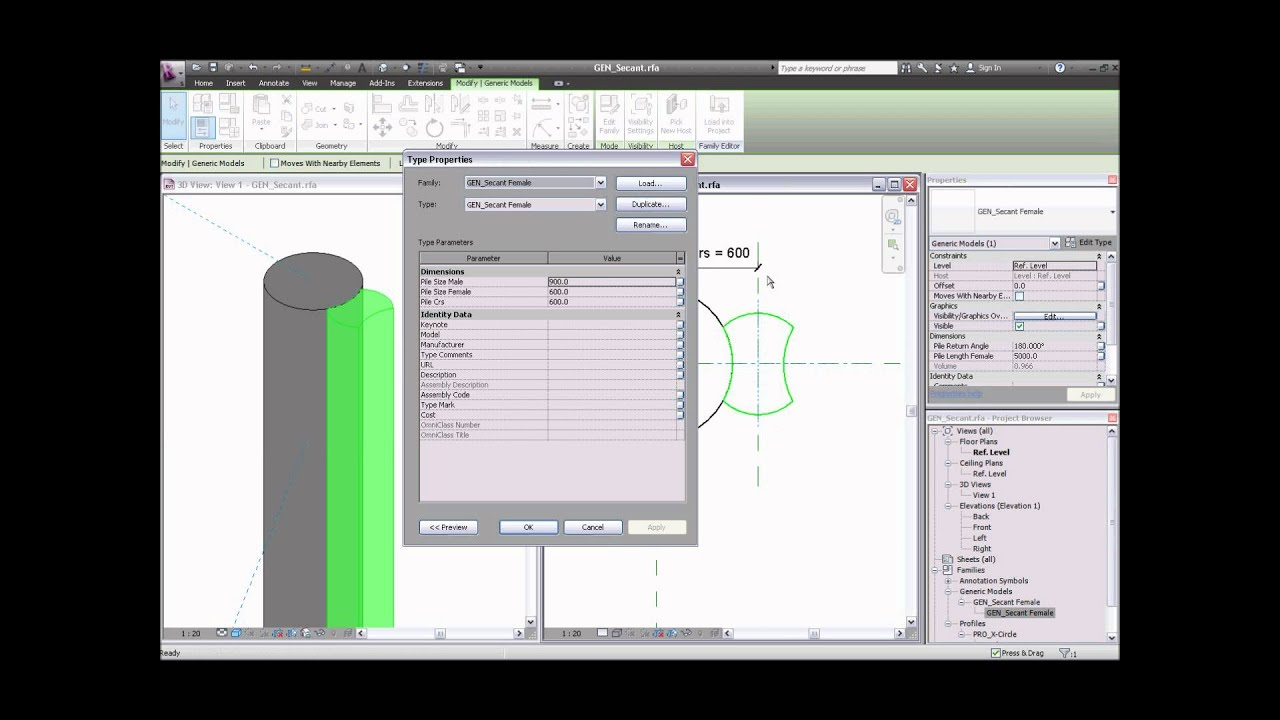 Revit Structure Secant Pile Wall A Method Youtube