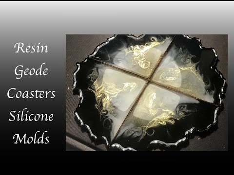 Resin Art Silicone Mold Coasters with Alcohol Ink Embellishments