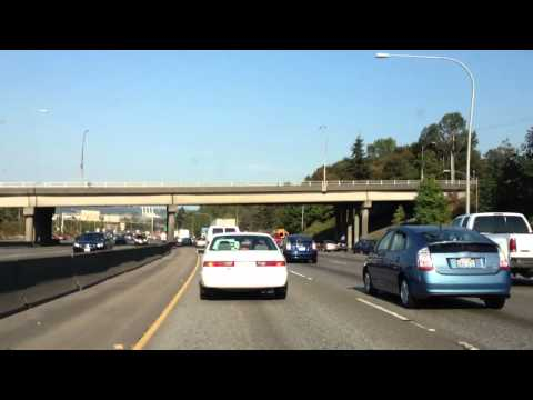 DRIVING FAST AT I-5 ( INTERSTATE HI-WAY ) IN WASHINGTON STATE  [HD] [3D]