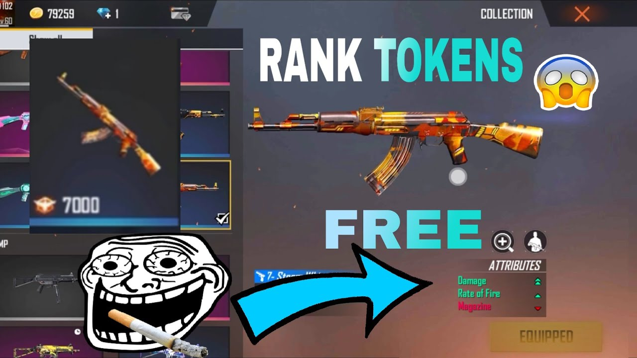 FREE FIRE  RANK TOKENS NEW AK SKIN || SK VS SK GAMING ||
