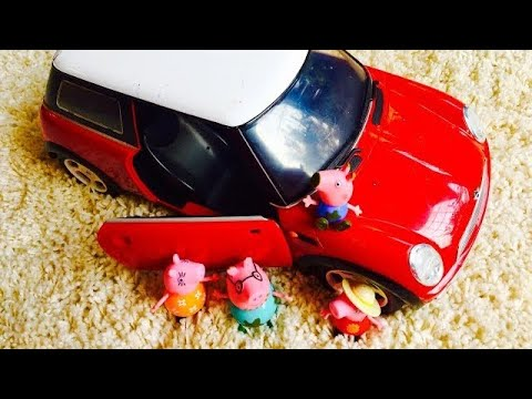 Red MINI CAR and PEPPA PIG Visits Flower Gardens to Learn Colors!!