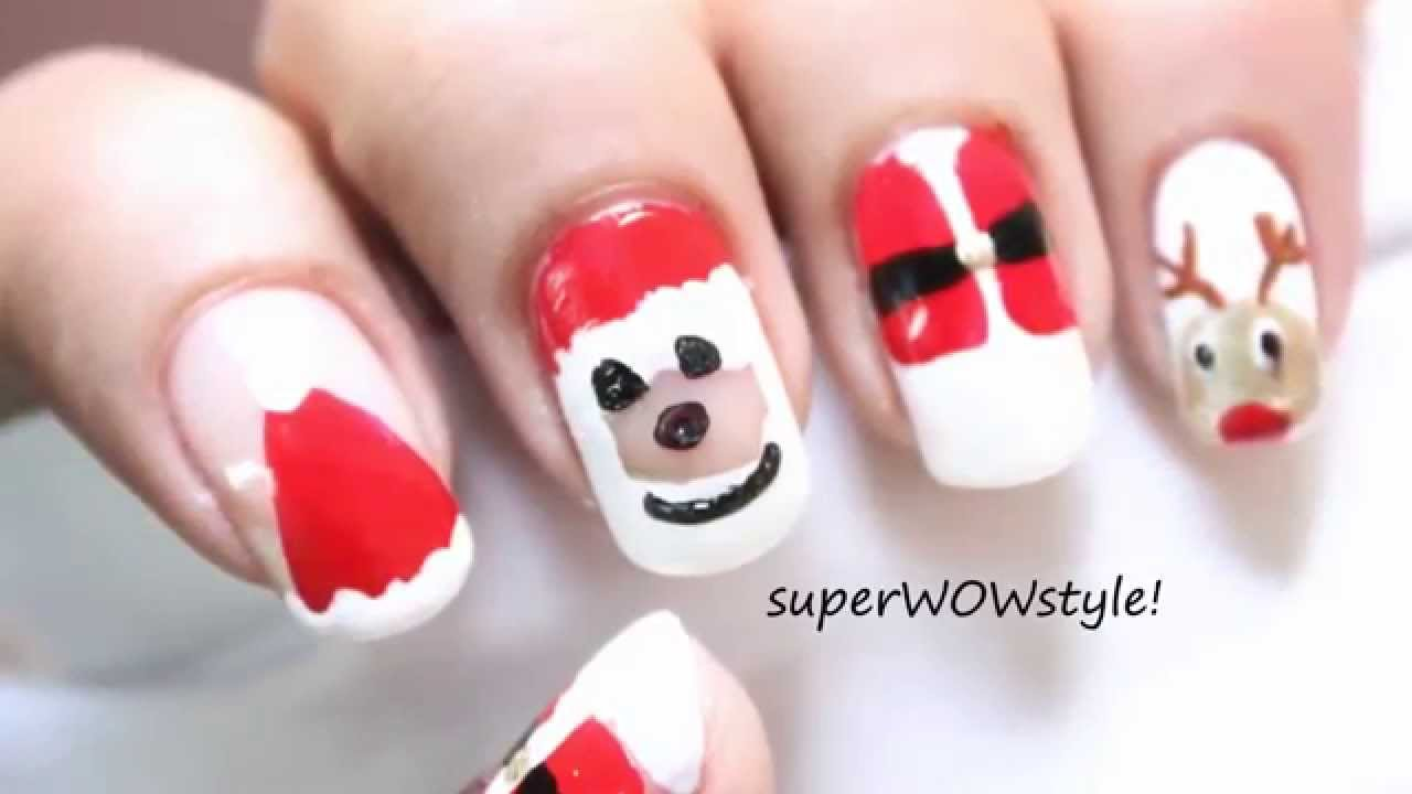 NO TOOLS!! ** Santa Nail Designs** : An Easy Christmas Nail Art ...