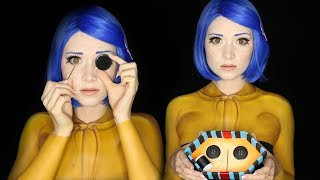 CORALINE HALLOWEEN MAKEUP TUTORIAL | Clothes Painted On!