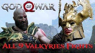 GOD OF WAR 4 (2018) | All 9 Valkyries Boss Fights [NORMAL]