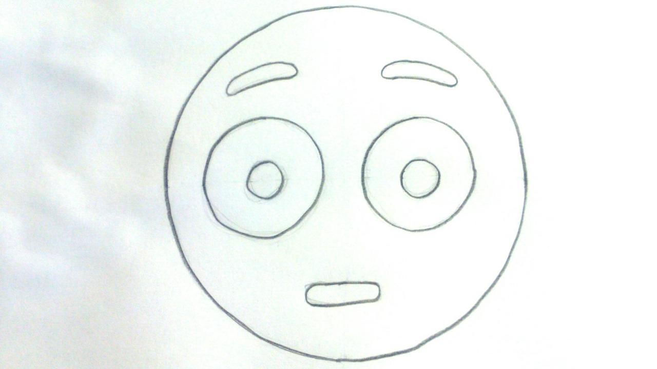 Dibujos De Emojis Para Colorear: Cómo Dibujar Un Emoji Sorprendido Paso A