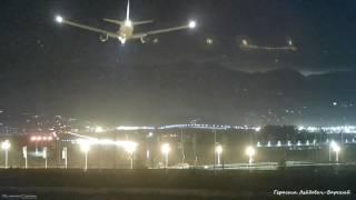 Аэропорт Сочи - Адлер Посадка бортов с частотой три самолёта за 15 минут в сумерки 03.01.2017