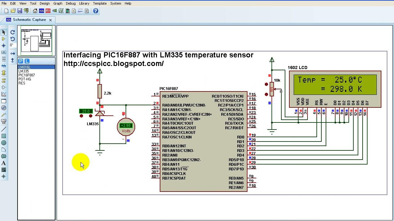 PIC16F887 + LM335 Temperature Sensor - CCS PIC C