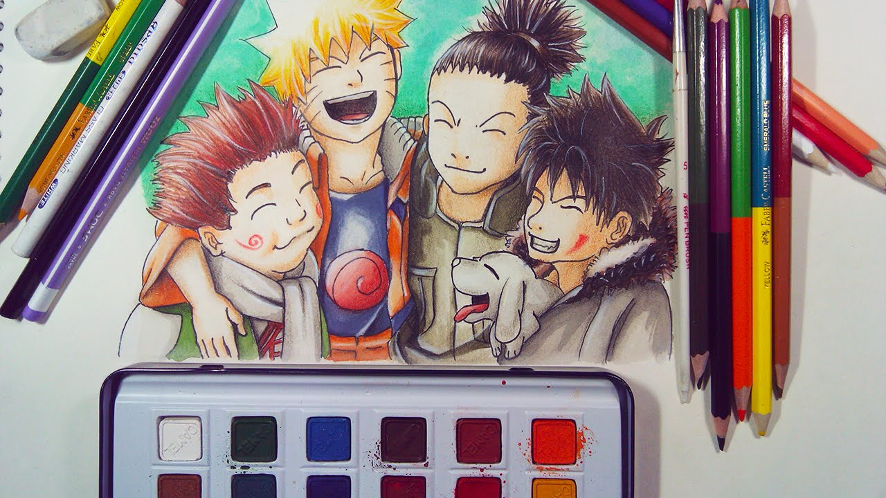 Draw Naruto Characters Friends Speed Drawing Youtube