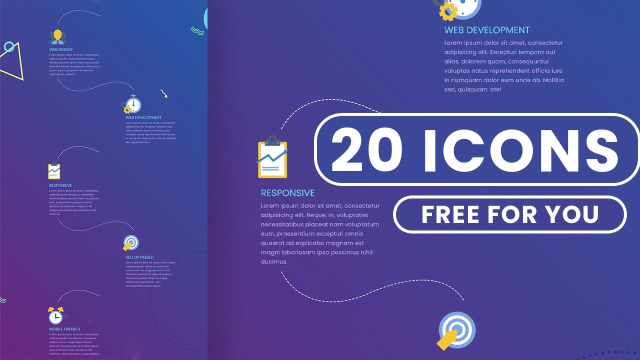 Creative Timeline CSS Design for web design -  20 Flat Icons included