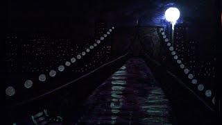 night bridge painting installation