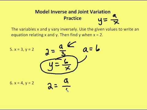 8.1 Model Inverse and Joint Variation (Practice) - YouTube