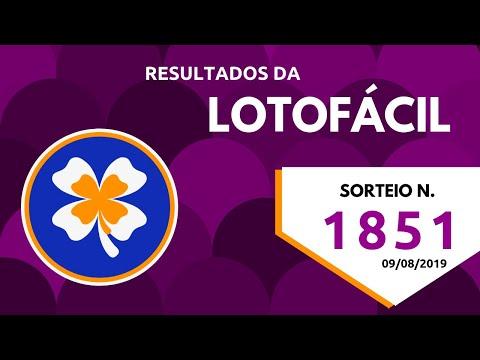 Resultados da Lotofácil - Concurso 1851 - 09/08/2019