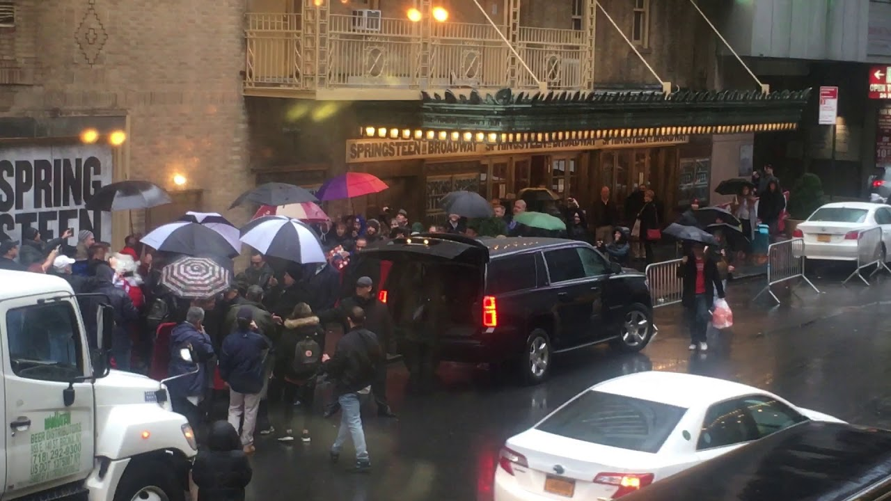 Watching bruce springsteen arrive at walter kerr theatre also youtube rh