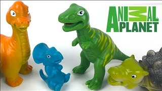 Repeat youtube video ANIMAL PLANET MEGA DINOSAUR DISCOVERY -T-REX TRICERATOPS BRONTOSAURUS ANKLYSAUROS DINO EGG -UNBOXING