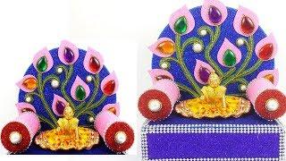 How to Make  Makhar/ Krishna Singhasan, Ladoo Gopal Chowki,Ganpati Makhar - Ganpati Decoration Ideas