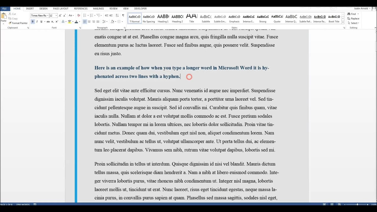 How To Turn Hyphenation On Or Off In Microsoft Word Youtube