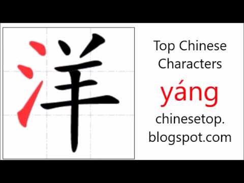 Chinese Character Yng Ocean With Stroke Order And