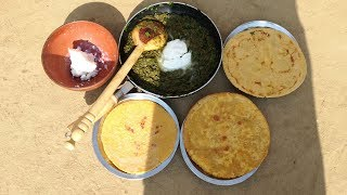 Sarson Ka Saag Makki Ki Roti Recipe | Homemade Butter | Chati Ki Lassi | Grandma's Village Style