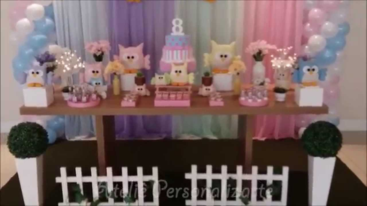 Decoração Youtube ~ Decoraç u00e3o de festa infantil Corujinhas YouTube