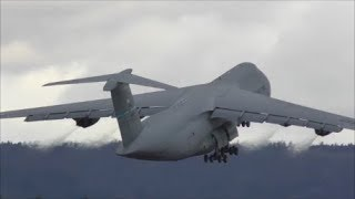 (WEF 2018) US Air Force Lockheed C-5 Galaxy taxiing and take off at ZRH with live ATC
