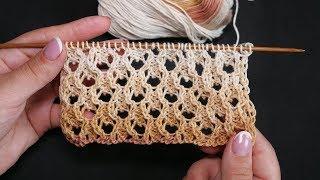 Ажурная сетка спицами | Openwork mesh knitting needles
