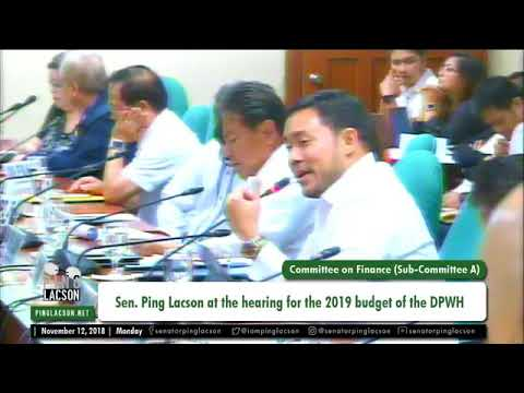 Hearing for the 2019 Budget of the DPWH | Nov. 12, 2018