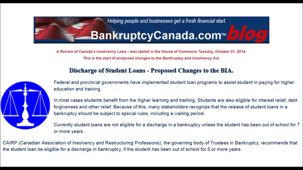 Discharge of Student Loans - Proposed Changes to the Bankruptcy and Insolvency Act. - YouTube