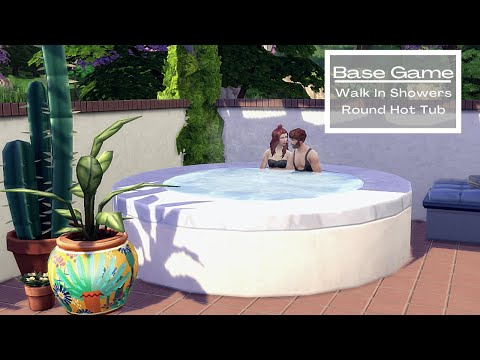 Base Game Functional Walk In Showers & Round Hot Tub Tutorial | No CC |The Sims 4