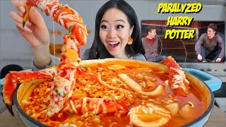 KING CRAB SPICY NOODLES LONG RICE CAKES MUKBANG