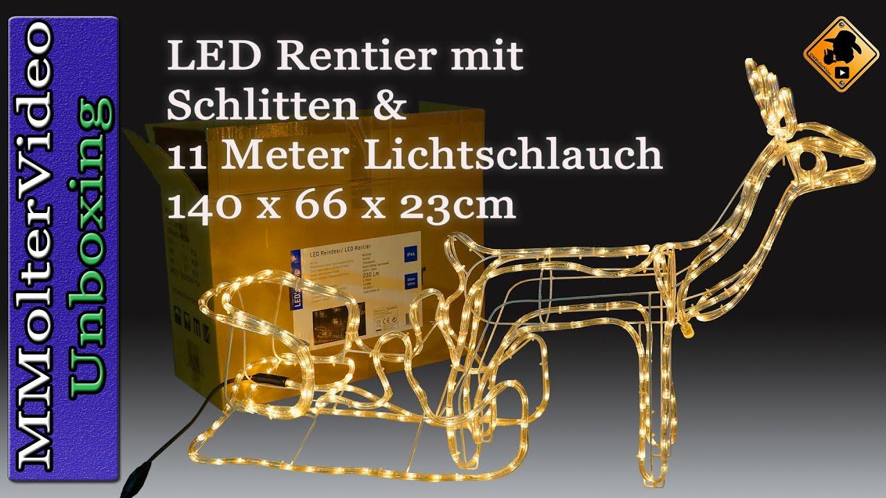 led rentier mit schlitten 11 meter lichtschlauch 140 x 66 x 23cm unboxing and first look deutsch. Black Bedroom Furniture Sets. Home Design Ideas