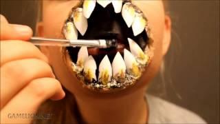 Девочка Зомби с большими зубами ( крутая маска на Хэллоуин )
