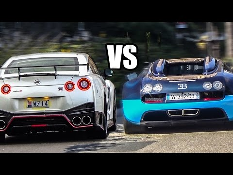 Nissan GT-R R35 VS Bugatti Veyron - Sound Battle!